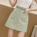 skirt Summer 2021 S,M,L,XL,2XL White, black, apricot, light green, sky blue Short skirt commute High waist A-line skirt Solid color Type A 18-24 years old //.WX 71% (inclusive) - 80% (inclusive) brocade cotton Pockets, lace up, open trim Korean version