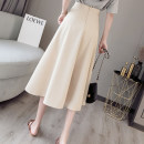 skirt Summer 2021 S,M,L,XL Apricot, black, bean green Mid length dress commute High waist Pleated skirt Solid color Type A 18-24 years old //8520 71% (inclusive) - 80% (inclusive) Korean version