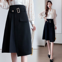 skirt Spring 2021 S,M,L,XL,2XL black Mid length dress commute High waist Suit skirt Solid color Type A 18-24 years old 429///qm 71% (inclusive) - 80% (inclusive) other polyester fiber Asymmetry Korean version