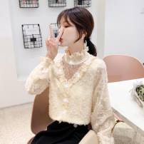 T-shirt S,M,L,XL,2XL Autumn 2020 Long sleeves High collar Self cultivation pagoda sleeve commute cotton 96% and above 18-24 years old Korean version classic Solid color //xn