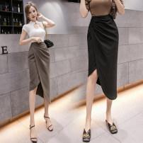skirt Summer 2021 S,M,L,XL Black, dark brown Mid length dress commute High waist Irregular Solid color Type X 18-24 years old ///xn 71% (inclusive) - 80% (inclusive) other other Asymmetric, zipper Korean version