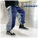 trousers Other / other male 90cm,100cm,110cm,120cm,130cm,140cm,150cm,160cm Stitching contrast jeans in stock, stitching contrast jeans pre-sale spring and autumn trousers leisure time There are models in the real shooting Casual pants Leather belt middle-waisted cotton Don't open the crotch trousers