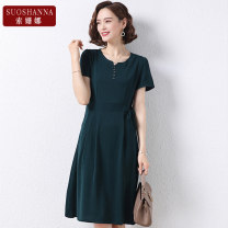 Middle aged and old women's wear Summer 2021 Green Navy 2 3 4 XL 2XL 3XL 4XL 5XL fashion Dress easy singleton  Solid color 40-49 years old Socket thin Crew neck Medium length routine 9189QA Susanna Button polyester Polyester 100% 96% and above Pure e-commerce (online only) Medium length Chiffon other