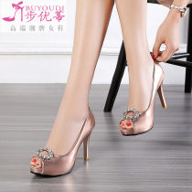 Low top shoes 31 32 33 34 35 36 37 38 39 40 41 42 43 Buyuti Gold (champagne gold) rose gold (pink) silver Fish mouth Fine heel PU Shallow mouth Super high heel (over 8cm) Superfine fiber Spring of 2018 Trochanter grace Adhesive shoes Solid color rubber Single shoes Flower diamond metal decoration