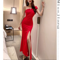 Dress / evening wear wedding S,M,L Black, red grace longuette High waist Summer 2020 fish tail Single shoulder type Rayon 18-25 years old Sleeveless Solid color other 31% (inclusive) - 50% (inclusive)