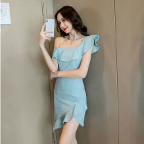 Dress Summer of 2019 Black, bean green S,M,L,XL Short skirt singleton  Sleeveless commute One word collar middle-waisted Solid color Socket Irregular skirt raglan sleeve Other / other Korean version 8105#