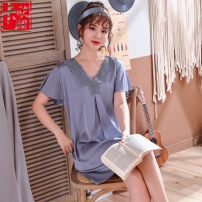 Nightdress Kaoulan Pigeon feather grey Navy green bean paste L XL Simplicity Short sleeve Leisure home Middle-skirt summer Plants and flowers youth V-neck Polyester (polyester) lace More than 95% silk K-507 200g and below Summer of 2019 Polyester 95% polyurethane elastic fiber (spandex) 5%