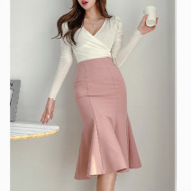 skirt Spring 2020 XS,S,M,L,XL,2XL,3XL Black, purple, pink Mid length dress grace High waist skirt Solid color Type X 25-29 years old More than 95% brocade polyester fiber zipper 351g / m ^ 2 (including) - 400g / m ^ 2 (including)