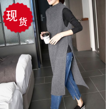 Wool knitwear Spring 2021 Average size Gray, black Sleeveless singleton  Socket other 91% (including) - 95% (excluding) Medium length routine commute Straight cylinder Half height crew neck routine Solid color Socket Korean version K147 25-29 years old