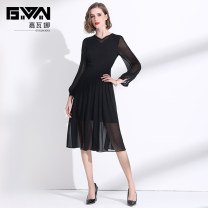 Dress Spring 2020 black M L XL XXL Mid length dress singleton  Long sleeves commute V-neck middle-waisted Solid color Socket A-line skirt routine Others 35-39 years old Type A Gyalwana / gawana lady Patchwork lace JWN205022 More than 95% Chiffon polyester fiber Polyester 100%