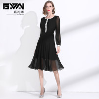 Dress Spring 2020 black M L XL XXL Mid length dress singleton  Long sleeves commute Crew neck middle-waisted Solid color Socket A-line skirt routine Others 35-39 years old Type A Gyalwana / gawana lady Pleated button JWN205037 More than 95% Chiffon polyester fiber Polyester 100%