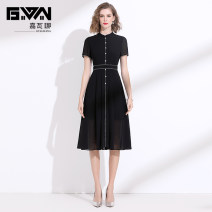 Dress Summer 2020 black M L XL XXL Mid length dress singleton  Short sleeve commute stand collar middle-waisted Solid color Socket A-line skirt routine Others 35-39 years old Type A Gyalwana / gawana lady Pleated button JWN205080 More than 95% Chiffon polyester fiber Polyester 100%