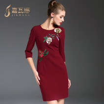 Dress Autumn 2016 L XL M XXL Middle-skirt singleton  three quarter sleeve commute Crew neck middle-waisted Solid color zipper One pace skirt routine Others 35-39 years old Type A Gyalwana / gawana lady 31% (inclusive) - 50% (inclusive) other cotton Pure e-commerce (online only)
