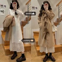 woolen coat Winter 2020 Average size Dress, coat other 81% (inclusive) - 90% (inclusive) Medium length Long sleeves commute Single breasted routine Solid color High waist type Korean version 18-24 years old cotton