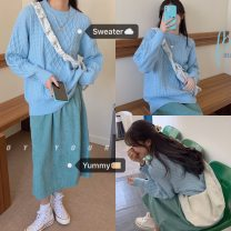 Fashion suit Autumn 2020 Average size Blue top, green skirt 18-25 years old 51% (inclusive) - 70% (inclusive) cotton