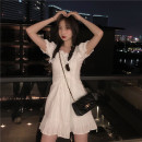 Dress Spring 2021 White, purple S, M Middle-skirt singleton  Short sleeve commute square neck Solid color 18-24 years old 2937-1# 51% (inclusive) - 70% (inclusive)