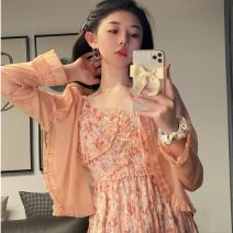 Dress Summer 2021 Sunscreen, dress S. M, l, average size Mid length dress Sweet High waist Decor Socket Others 18-24 years old Type H 51% (inclusive) - 70% (inclusive) Chiffon cotton Mori
