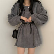 Dress Spring 2021 Grey, black, coffee Average size Middle-skirt singleton  Long sleeves commute Crew neck High waist Solid color Socket other 18-24 years old Type A Korean version 51% (inclusive) - 70% (inclusive) cotton