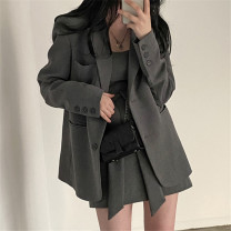 suit Spring 2021 Grey dress s, grey dress m, grey coat s, grey coat m, black dress s, black dress m, black coat s, black coat M Average size Long sleeves routine easy Single breasted Versatile routine Solid color 18-24 years old 71% (inclusive) - 80% (inclusive)