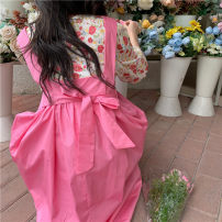 Fashion suit Spring 2021 Average size Pink top, blue top, pink suspender skirt, blue suspender skirt 18-25 years old 51% (inclusive) - 70% (inclusive) cotton