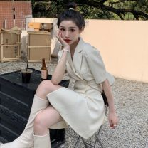 Dress Spring 2021 White, black S, M Short skirt singleton  Short sleeve commute V-neck Solid color Single breasted A-line skirt puff sleeve 18-24 years old