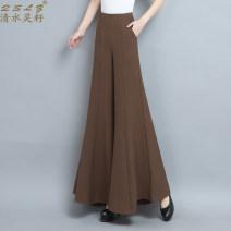 Casual pants Caramel q6910 black q6910 28 29 30 31 32 33 Spring 2021 trousers Wide leg pants High waist Q6910 Qslz / qingshuiling seed Polyester fiber 95.6% polyurethane elastic fiber (spandex) 4.4%