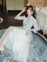Dress Summer 2020 white S,M,L longuette singleton  Nine point sleeve commute stand collar High waist Solid color zipper Big swing routine Others Type A Retro Button, lace