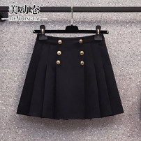 Women's large Summer 2021 black L XL 2XL 3XL 4XL skirt commute easy moderate Solid color Korean version Three dimensional cutting Beauty trends 25-29 years old Button 96% and above Short skirt Polyester 100% Pure e-commerce (online only) Pleated skirt