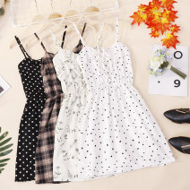 Dress Summer 2020 Average size Short skirt singleton  Sleeveless commute One word collar High waist Socket A-line skirt other camisole 18-24 years old Type A Korean version CSNRG568 81% (inclusive) - 90% (inclusive)