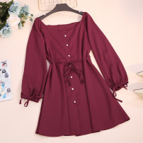 Dress Spring 2020 Black, Burgundy, green Average size Short skirt singleton  Long sleeves commute V-neck High waist Solid color Single breasted A-line skirt puff sleeve Others 18-24 years old Type A Korean version CSNRG746910 51% (inclusive) - 70% (inclusive) other
