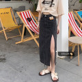 skirt Summer 2021 S,M,L Blue, black Mid length dress Versatile High waist Denim skirt Solid color Type A 18-24 years old 71% (inclusive) - 80% (inclusive)
