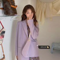 Fashion suit Spring 2021 S. M, l, average size Floral dress, purple coat 18-25 years old # twenty-two thousand eight hundred and seventy-seven 30% and below polyester fiber