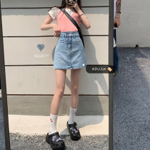 skirt Summer 2021 S,M,L blue Short skirt commute High waist Denim skirt Solid color Type A 18-24 years old 71% (inclusive) - 80% (inclusive) other Korean version