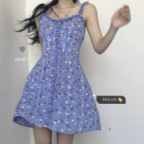 Dress Summer 2021 Picture color S, M Short skirt singleton  Sleeveless commute square neck Elastic waist Socket other other camisole 18-24 years old Type A Korean version 3241# 30% and below