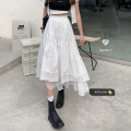skirt Summer 2021 Average size White, black Mid length dress commute High waist A-line skirt Solid color Type A 18-24 years old 30% and below other Korean version