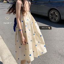 Dress Spring 2021 Apricot M, L Middle-skirt singleton  Sleeveless commute Princess Dress routine camisole 18-24 years old Type H Korean version 31% (inclusive) - 50% (inclusive) cotton