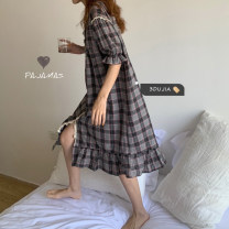 Nightdress Other / other Black check skirt, blue check skirt Average size Simplicity Short sleeve Leisure home longuette summer lattice youth Crew neck cotton printing More than 95% pure cotton 8160A 200g and below