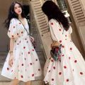 Dress Other / other White two piece set M,L,XL,XXL Korean version Short sleeve Medium length summer V-neck Decor