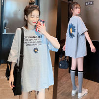 T-shirt Lapel M,L,XL,XXL other White, pink, grey Short sleeve summer Korean version Medium length Solid color Pure cotton (95% and above)