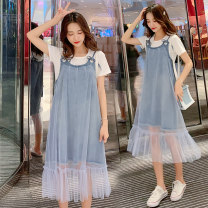 Dress Other / other sky blue M,L,XL,XXL Korean version Short sleeve Medium length summer Crew neck Solid color Space cotton