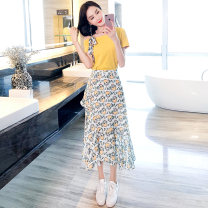 Dress Summer 2020 Yellow blue white S M L XL Mid length dress Two piece set Short sleeve commute Slant collar High waist Broken flowers Socket Irregular skirt routine Oblique shoulder 25-29 years old Type A Kaylev Korean version bow More than 95% Chiffon other Other 100% Pure e-commerce (online only)