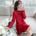 Dress Winter 2020 gules S M L XL Mid length dress singleton  Long sleeves commute Crew neck Loose waist Solid color Socket A-line skirt routine Others 25-29 years old Type A Kaylev Retro Splicing KQ20u66 More than 95% knitting other Other 100% Pure e-commerce (online only)