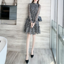 Dress Spring 2021 black S M L XL Mid length dress singleton  Long sleeves commute Crew neck High waist Decor Socket A-line skirt routine Others 30-34 years old Type A Kaylev Korean version printing K20h31 More than 95% other other Other 100% Pure e-commerce (online only)