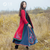 Cotton padded clothes Jujube red XL 2XL Winter of 2019 You Jin Medium length Long sleeves routine Single breasted commute stand collar routine Straight cylinder ethnic style Embroidery 30% and below hemp other 40-49 years old Pure e-commerce (online only)
