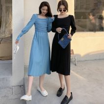 Dress Spring 2021 Blue, black Average size Miniskirt singleton  Long sleeves commute square neck High waist Solid color Socket A-line skirt other Others 18-24 years old Type A Korean version 116K 31% (inclusive) - 50% (inclusive) other cotton