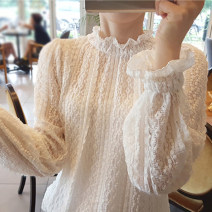 Lace / Chiffon Autumn 2020 White apricot light pink black Average size Long sleeves commute Socket Regular Solid color routine Vee miny Other 100%