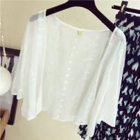 Lace / Chiffon Summer of 2019 white Average size three quarter sleeve Versatile Cardigan singleton  easy Regular Vee miny Other 100%
