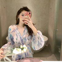 Dress Spring 2021 Short dress, long dress, lace skirt, top, shorts S,M,L Long sleeves commute V-neck Broken flowers other pagoda sleeve 18-24 years old Beautiful summer Korean version XX210314SY 51% (inclusive) - 70% (inclusive) Chiffon other