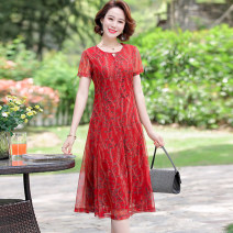 Dress Summer 2020 Red green L XL XXL 3XL 4XL longuette singleton  Short sleeve commute Crew neck High waist Decor Socket Big swing routine 40-49 years old Type A Kanglibo lady Button and zipper printing KLB212A More than 95% Chiffon polyester fiber Polyester 95% polyamide 5%