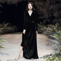 Dress / evening wear Weddings, adulthood parties, company annual meetings, daily appointments XXS XS S ml XL XXL XXXL customized, please contact customer service Korean version longuette middle-waisted Spring 2020 Fall to the ground Deep collar V zipper spandex 18-25 years old QM932 Long sleeves